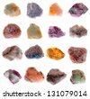 Mineral collection isolated on a white backgroun - stock photo
