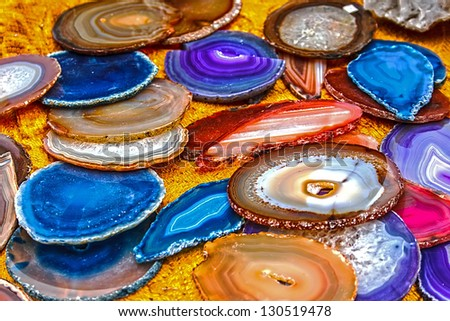 Mineral crystals and stones, with energy effect, in different structures - stock photo