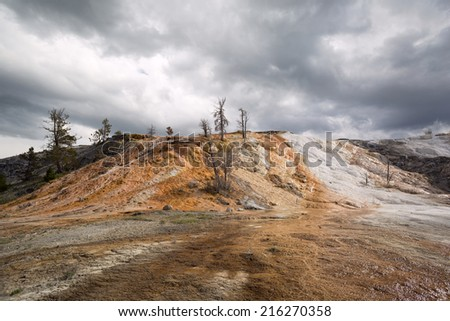 mineral deposits at Mammoth Hot Sprint in Yellowstone National Park - stock photo