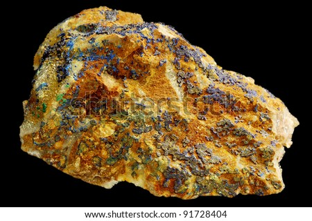 Mineral lazurite isolated on black background. - stock photo