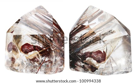 Mineral quartz with rutile it is isolated on a white background - stock photo
