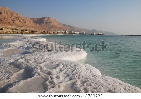 Mineral salts on coast of the Dead Sea, - stock photo