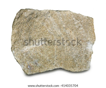 Mineral sandstone isolated on white background. Most sandstone is composed of quartz and/or feldspar because these are the most common minerals in the Earth's crust.