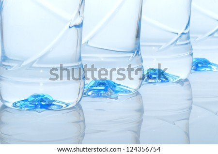 Mineral water bottles close-up - stock photo