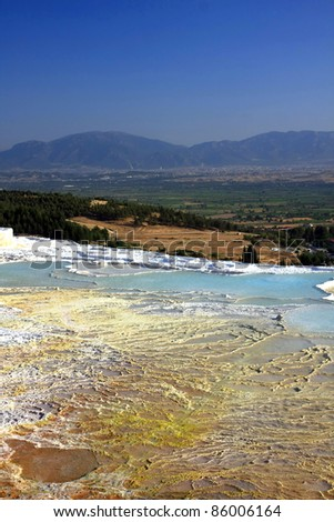mineral water geyser made terraces for healthy bath, Pamukkale, Turkey