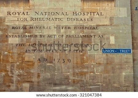 Mineral Water Hospital, the Royal National Hospital for rheumatic diseases in the centre of Bath, Somerset, England  - stock photo