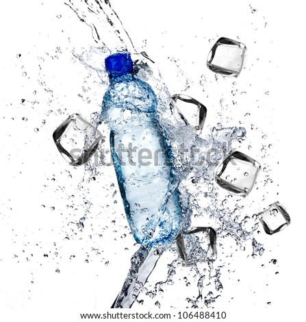 Mineral water with Ice cubes and wated splash - stock photo