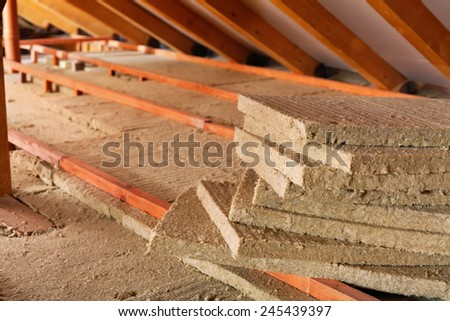 Mineral wool stack on construction site - thermal insulation of a house