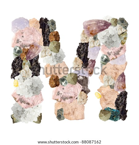Minerales alphabet isolated on white background Letter M - stock photo