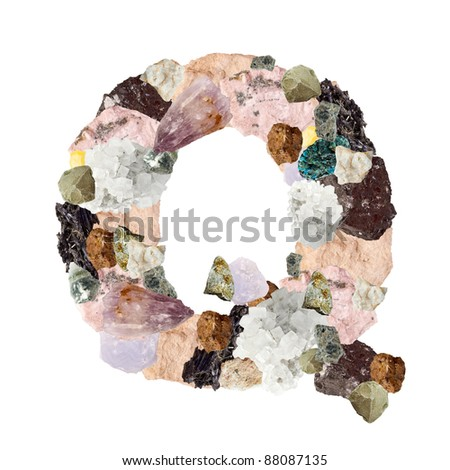 Minerales alphabet isolated on white background Letter Q - stock photo