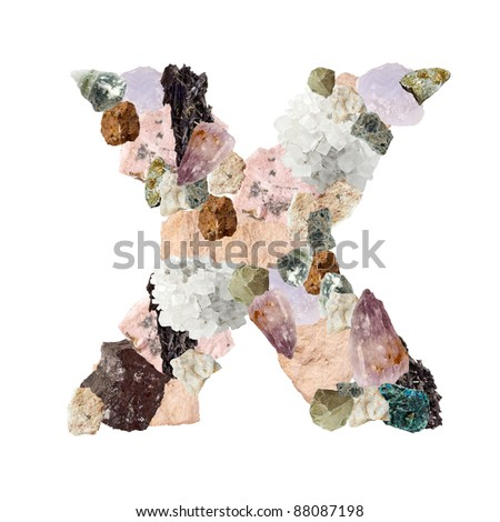 Minerales alphabet isolated on white background Letter X - stock photo