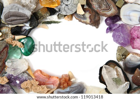 minerals and gems frame on the white background - stock photo