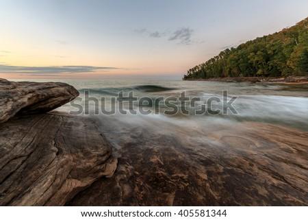 Miners Beach Sunset in the Upper Peninsula of Michigan - Pictured Rocks National Lakeshore, near Munising - stock photo