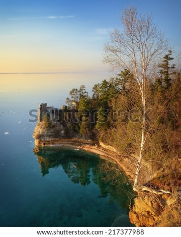 Miners Castle Pictured Rocks National Lakeshore Lake Superior - stock photo