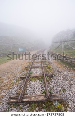 mines in the fog in Covadonga, Asturies - stock photo
