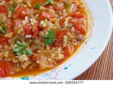 Minestra di riso - Italian lentil soup with rice