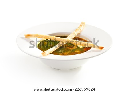 Minestrone Soup with Pesto Sauce - stock photo