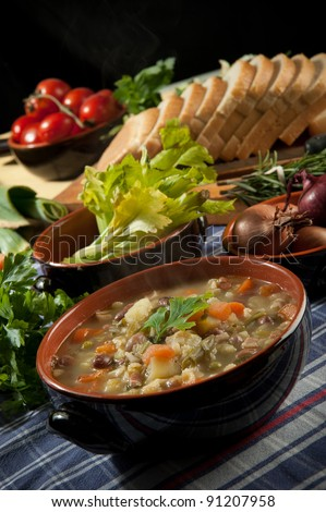 Minestrone - soup with vegetables - stock photo