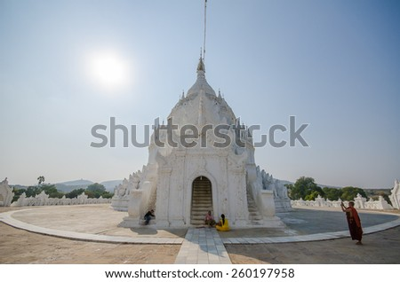 MINGUN , MANDALAY , MYANMAR - 18 Feb 2015 : Mingun Monastry during afternoon with blue sky. - stock photo