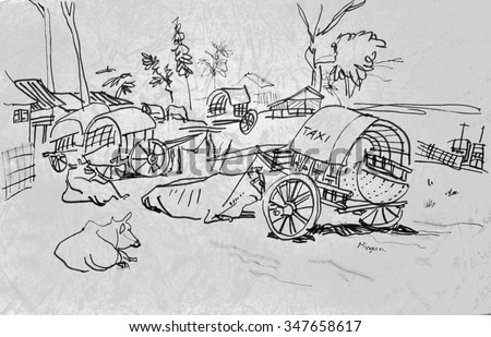 Mingun town near Mandalay, Myanmar (Burma), Southeast Asia. Rural landscape with vintage laid back cow bamboo taxi carts and cows. Irrawadi river, boat, trees. Travel sketch, artistic drawing