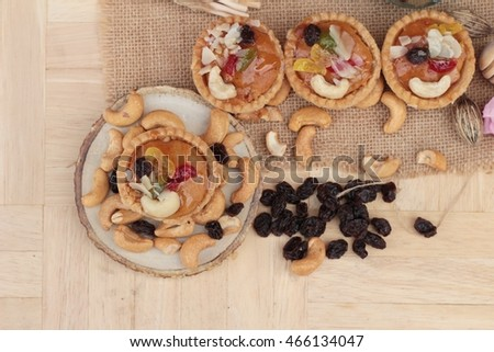 Mini almond nuts,fruit tart is delicious