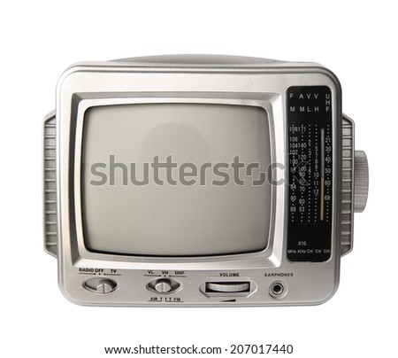 Mini analog television with transistor radio isolated over white background, clipping path.
