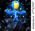 Mini Astronaut In Xeno Egg Hive - stock vector
