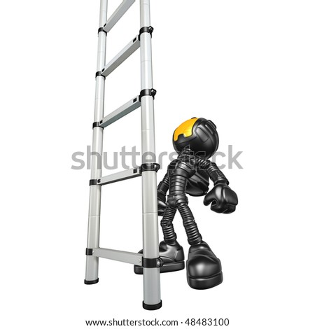 Mini Astronaut With Ladder - stock photo