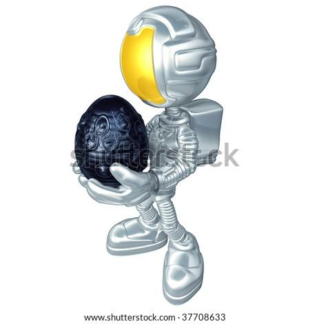Mini Astronaut With Xeno Egg - stock photo