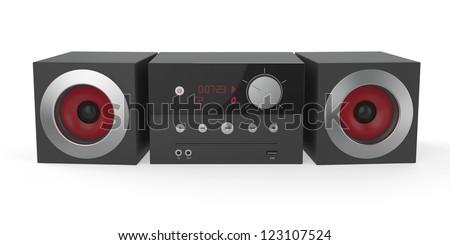 Mini audio system on white background - stock photo