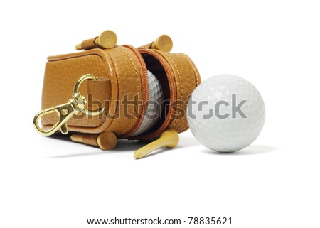 Mini bag of golf balls and tees on white background - stock photo