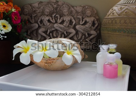 mini bath and shower set in a decorative vintage and still-life mood corner - stock photo