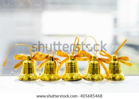 mini bells decoration for christmas - stock photo