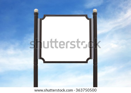 Mini Billboard wooden sign post outdoor on the sky background.