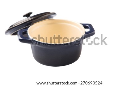 Mini blue empty cocotte single pot over white background - stock photo