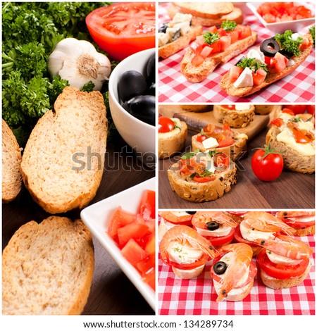 Mini brucshetta sandwiches - stock photo