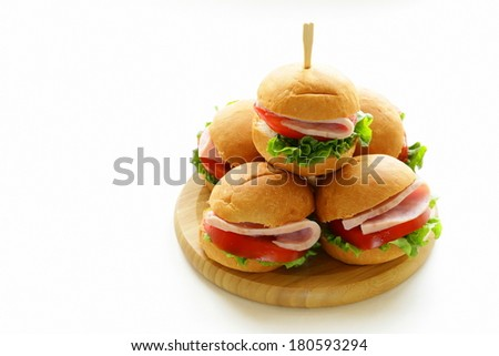mini burgers with ham and vegetables - snacks for parties and picnics - stock photo