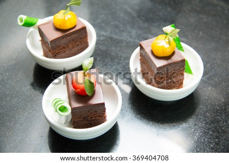 Mini cake on the table for the buffet in cup
