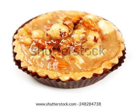 Mini cake with nuts isolated on white