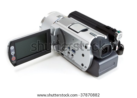 Mini camcorder isolated on white background - stock photo