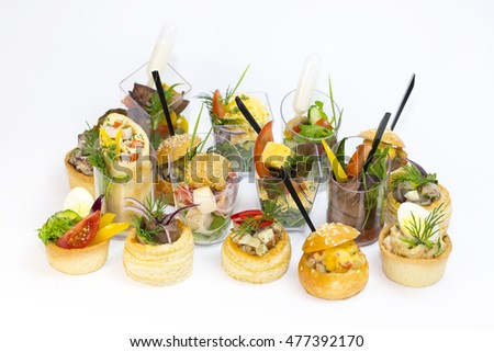 Mini Canape with meat and vegetables