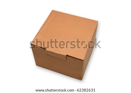 Mini cardboard box isolated on white. - stock photo