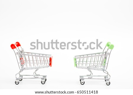 mini cart on white background
