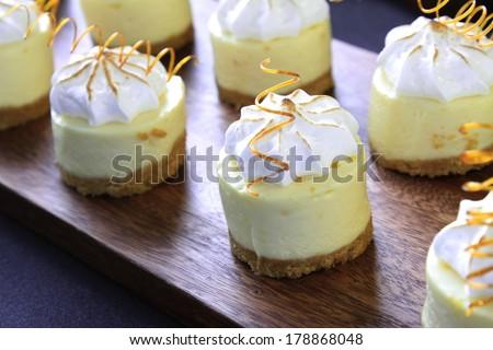 mini cheese cake canapes - stock photo