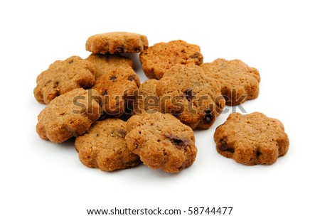 Mini cocoa chocolate chip cookies isolated on white - stock photo