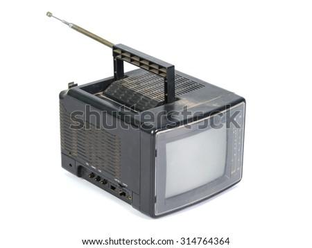 Mini color analog television - stock photo