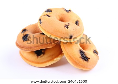 Mini donuts isolated on white - stock photo