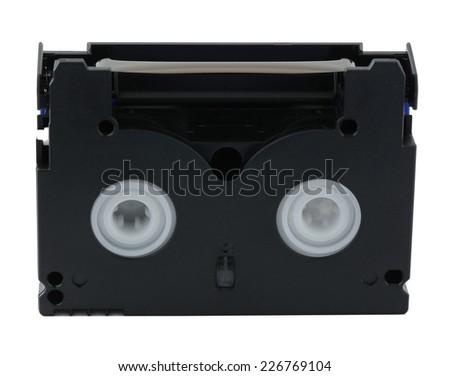 mini DV cassette isolated on white - stock photo
