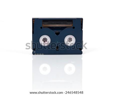Mini DV cassette isolated on white background - stock photo