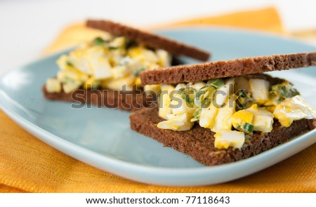 Breakfast Sandwich With Egg Salad Stock Photos, Illustrations, and ...